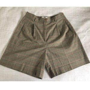 Vintage High Waist Plaid Shorts Wide Leg